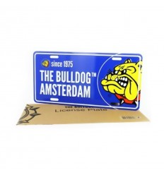 THE BULLDOG PLAQUE LICENCE BLEUE DANS SACHET PAPIER