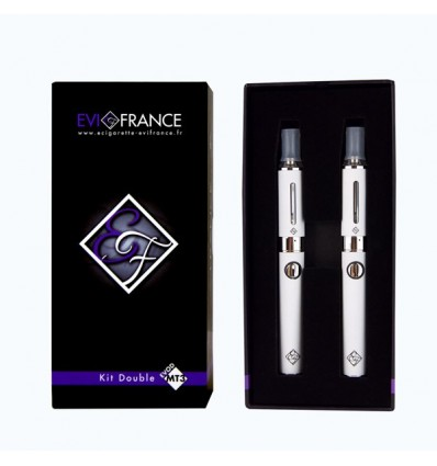 E-CIGARETTE EGO FRANCE DOUBLE KIT MT3-E-VOD BLANC