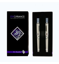 E-CIGARETTE EGO FRANCE DOUBLE KIT MT3-E-VOD ARGENT