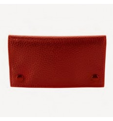 CHAMP - BLAGUE A TABAC CUIR A GRAIN 16X8.5CM DL-12 - ROUGE