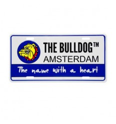 THE BULLDOG PLAQUE IMMATRICULATION BLEU/BLANC